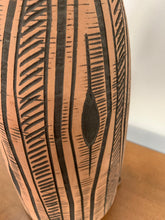 Load image into Gallery viewer, Lee Rosen for Design-Technics Terracotta Colored Lamp with Incised Black Design