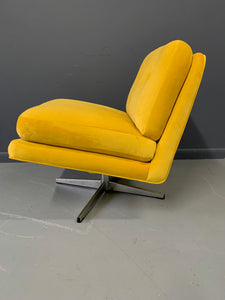 Mid Century Swivel Chair in Marigold Velvet