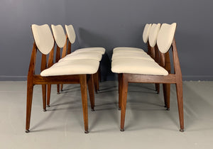 Jens Risom Mid Century Walnut Dining Chairs, a Set of Six