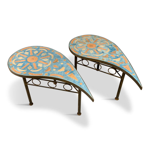 Atelier Anand of Brazil Ceramic and Bronzed Tear Dropped Side Tables
