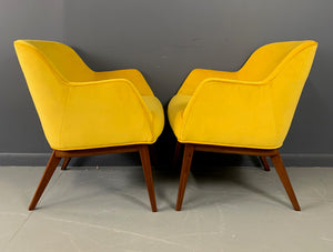 Mid Century Armchairs in Marigold Upholstery with a Walnut Frame by BL Marble