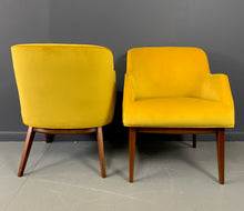Load image into Gallery viewer, Mid Century Armchairs in Marigold Upholstery with a Walnut Frame by BL Marble