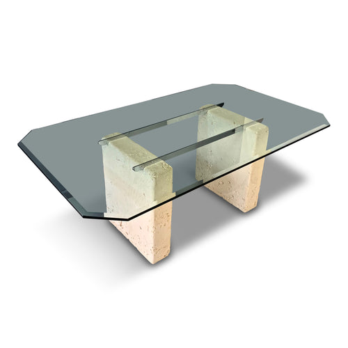 Ceramic, Glass, and Chrome Dining Table with a Coral Motif Post-Modern