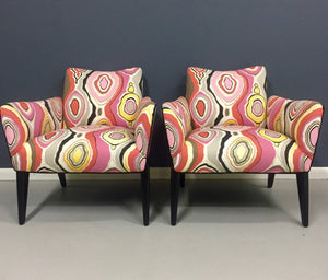 Italian Mid Century Pair of Lounge Chairs in the Style of Ico Parisi