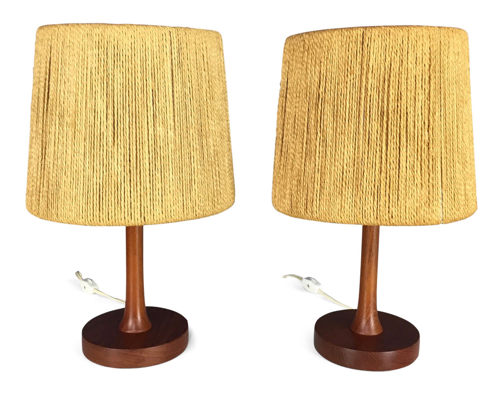 Danish teak table lamps with rope shades a pair midcentury masters danish teak table lamps with rope shades a pair aloadofball Image collections