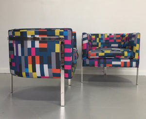 Harvey Probber Style Pair of Club Chairs in Chrome and Knoll Fabric