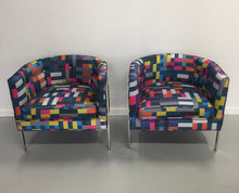 Load image into Gallery viewer, Harvey Probber Style Pair of Club Chairs in Chrome and Knoll Fabric