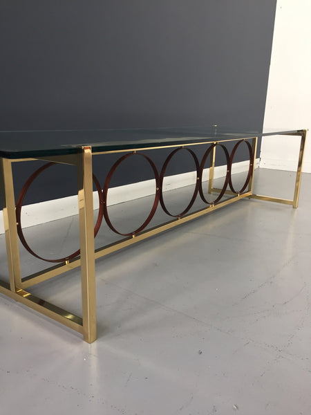 Brass and Walnut Coffee Table in the Mid century Style