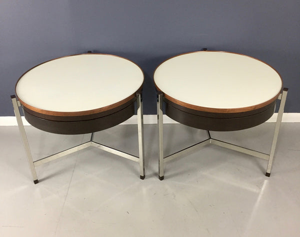Dunbar Rare Round Occasional Tables by Edward Wormley a Pair Mid Century