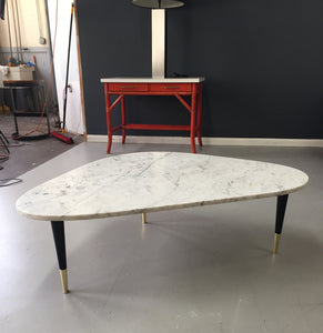 Italian Marble Top Coffee Table With Brass Caps After Gio Ponti, Mid Century