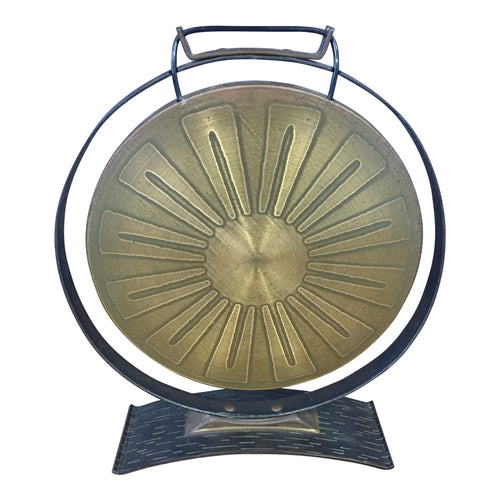 Brutalist Brass Gong in the Mid Century Style