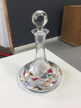 Load image into Gallery viewer, Decanter of Art Glass With Blue, Red and Gold