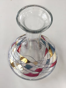 Decanter of Art Glass With Blue, Red and Gold