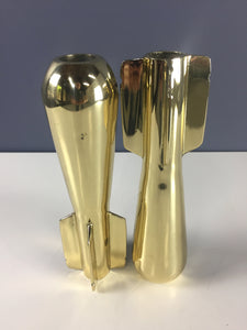 Brassed Pair of WWll Era Mortar Shell Paperweights or Bookends Mid Century