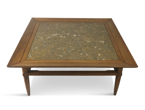 Tomlinson Marble and Pecan Mid Century Coffee Table