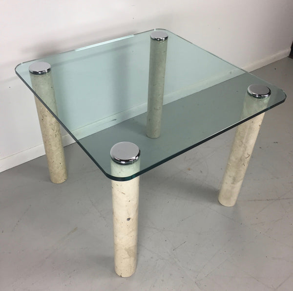 Pace Collection Glass and Marble Card Table Mid Century