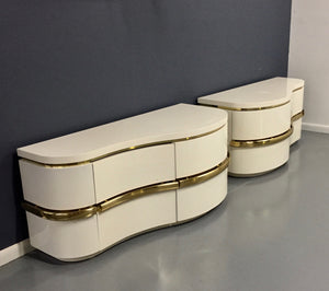 Karl Springer Style Massive Lacquer and Brass Nightstands Midcentury