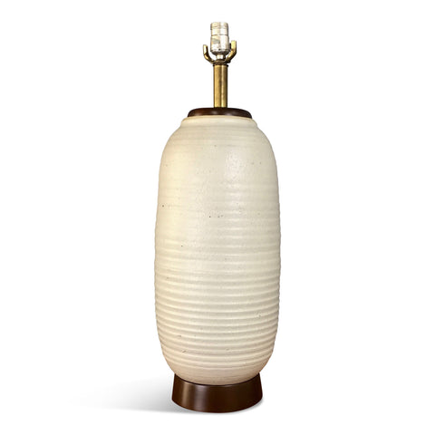 Architectural Pottery Lamp in Ribbed Oatmeal Glaze by Schiller/Cordray