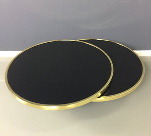 Design Institute of America Brass and Black Glass Swivel Cocktail Table