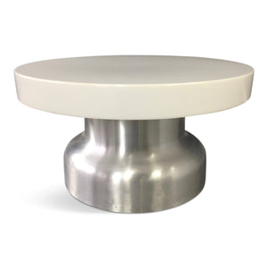 Post Modern Industrial Lighted Coffee Table in Brushed Aluminum and Acrylic