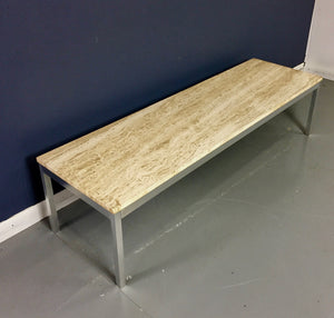 Travertine and Brushed Aluminum Coffee Table in the style of Knoll Mid Century