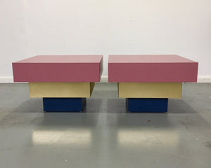 Formica Dusty Rose and Brass Stepped Side Tables Midcentury a La Karl Springer