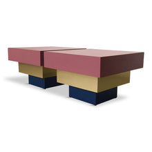 Load image into Gallery viewer, Formica Dusty Rose and Brass Stepped Side Tables Midcentury a La Karl Springer