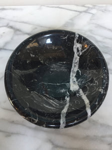 Round Black and White Veined Italian Marble Bowl