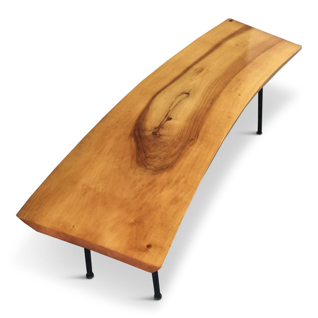 Live Edge Birch Bench or Coffee Table with Iron Legs from Germany Mid Century