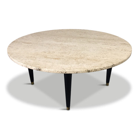 Travertine Round Mid Century Coffee Table in the Style of Ico Parisi