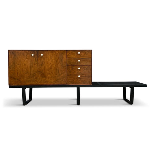 George Nelson Rosewood Thin Edge Cabinet on Original Slat Bench Mid-Century
