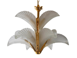 Brass and Frosted Glass Hollywood Regency Art Deco Slip Shade Chandelier