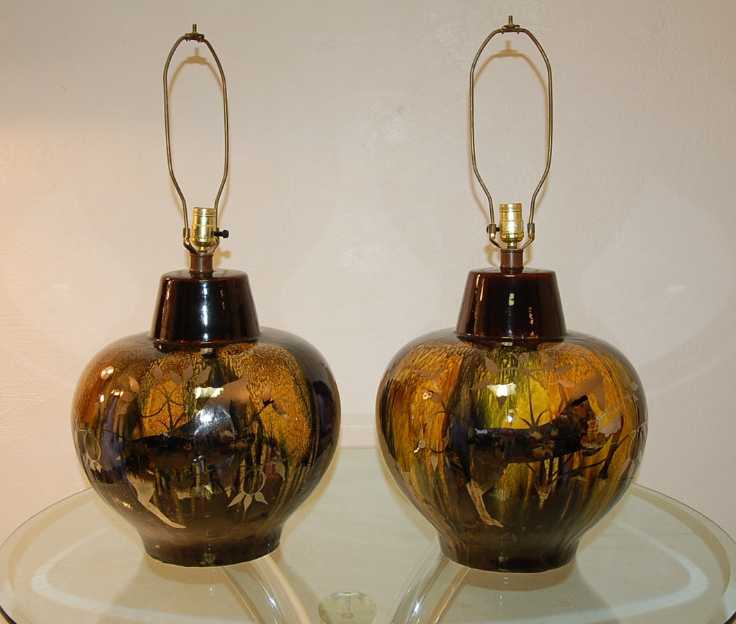 Pair of Art Deco Monumental Ceramic Lamps w/ Silver Overlay