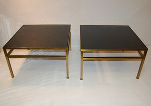 Harvey Probber Pair of Rare Brass and Vitrolite