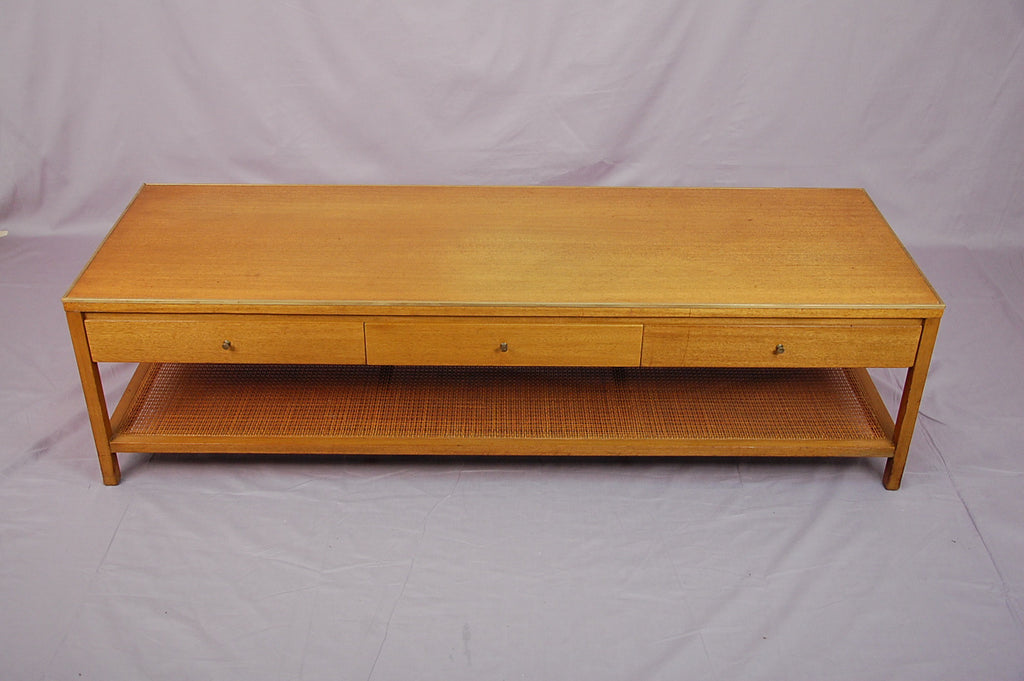 Paul Mccobb For Calvin Coffee Table With Three Drawers Cane Bottom - Calvin coffee table