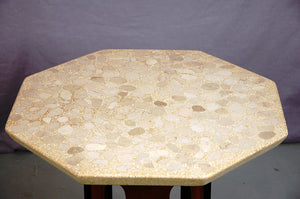 Harvey Probber Octagonal Terrazzo and Walnut End Table