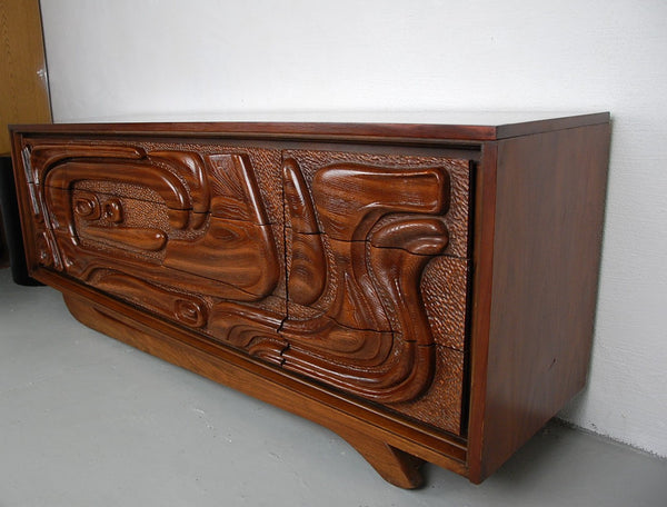 Oceanic by Witco Tiki Dresser with Sculptural Base