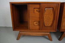 Load image into Gallery viewer, Mid Century Walnut Sliding Panel Nightstands