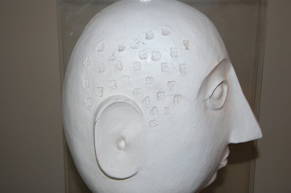 David Gil Sculptural Head of Ceramic, Lucite and Wood for Bennington Pottery