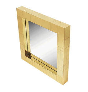 Brass Mid-Century Square Cityscape Mirrors in the Style of Paul Evans