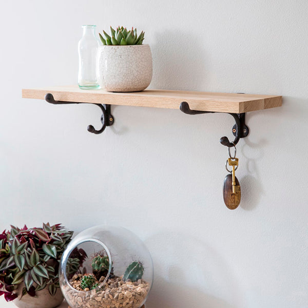 Raw Oak Shelf With Cast Iron Bracket-shelf-The Little House Shop