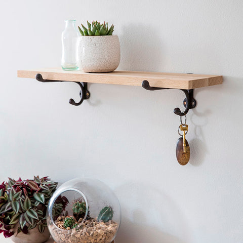 Raw Oak Shelf With Cast Iron Bracket