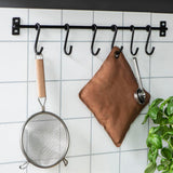 Black Industrial Wall Rail With 6 Hooks-Hooks-The Little House Shop