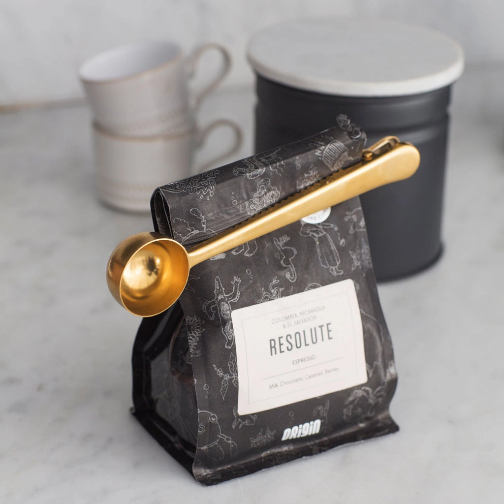 Brass Coffee Scoop and Clip-Kitchen Utensils-The Little House Shop