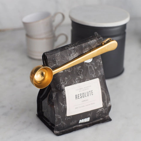 Brass Coffee Scoop and Clip