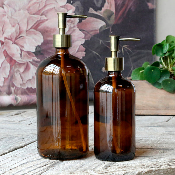 Amber Glass Bottle Holder With Brass Pump 480ml-soap Dispenser-The Little House Shop