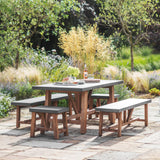 Cement Indoor Outdoor Chilson Table and Bench Set-Furniture-The Little House Shop