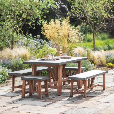 Cement Indoor Outdoor Chilson Table and Bench Set