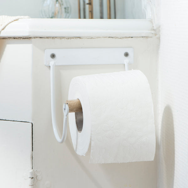 White Enamel Toilet Roll Holder