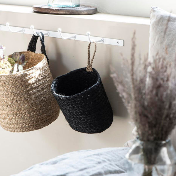 Hanging Black Basket With Natural Strap